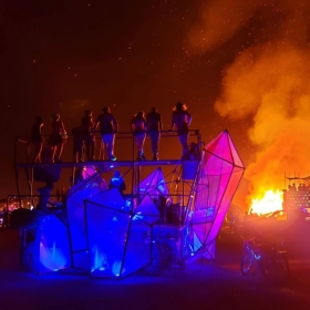 DJing atop the Crytal Groove art car at Burning Man 2019