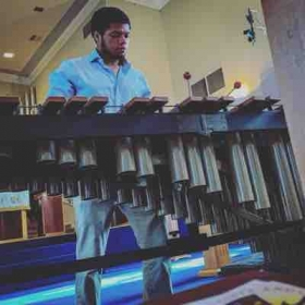 Me practicing Bach before a church gig on marimba! :))
