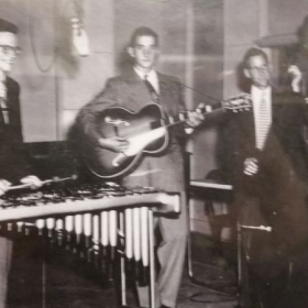 Peter Leipnik, my Dad, playing bass on live radio in the 40s in Northern Ontario. Still have the vinyl they cut that day. ;0)