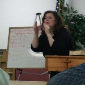 Me teaching at the Bill Rice Ranch Deaf Camp's Sign Language School
