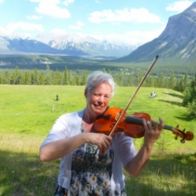 Playing at the Banff wedding on a beautiful mountaintop!