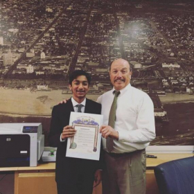 Commendation from the Mayor of Santa Monica in City Hall for chess accomplishments