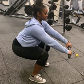 Cable squat row with resistance band