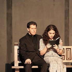 """A photo taken in rehearsal for my newest play The Runner Stumbles where I play the lead role of """"Sister Rita."""""""