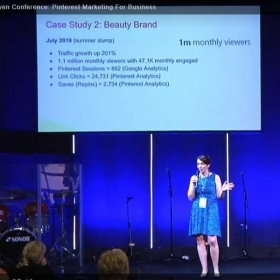 Public speaking at a large business conference for online entrepreneurs.