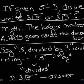Clearing up confusion regarding where to place the dividend and the divisor in a division word problem.