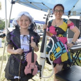 We love Halloween! We played Sally's song as a violin cello duet for an outdoor festival.