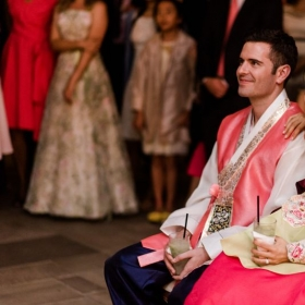 Our wedding day in Sao Paulo, Brazil. Wearing Hanbok, the Korean Traditional Dress.