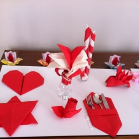 Napkin origami for a bridal shower