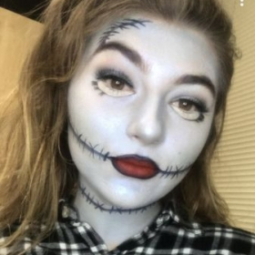 Kinda creepy but it's Sally from Nightmare before Christmas.