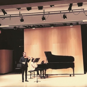 2nd Performance of 'American Ghost(s) Dance', commissioned by Eric Mrugula for violin/piano duo, April 2018 at UMass Amherst.