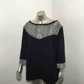 Custom made Black & Grey Cheetah Print 3/4 Sleeve Top by yours truly Melissa George.