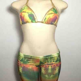 Custom Colorful Gold Accented Bikini & Biker Shorts 2 Piece by yours truly Melissa G.