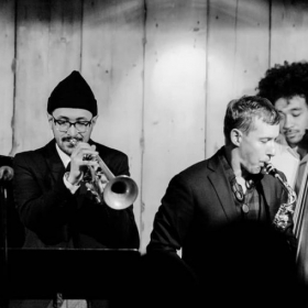 """With saxophonist Matt La Von at CD Release Party for his new album """"Found"""" at Rockwood Music Hall in New York City"""