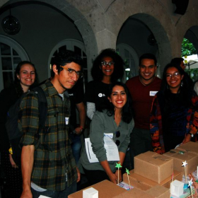 Some happy students during a workshop.
