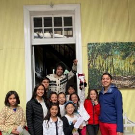 Children and teachers at the Puerto Varas Conservatory of Music, Chile