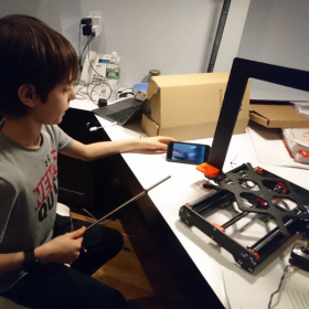Helping my student build a real 3D printer.