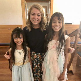 Two harp student sisters, following the younger one's first recital performance!