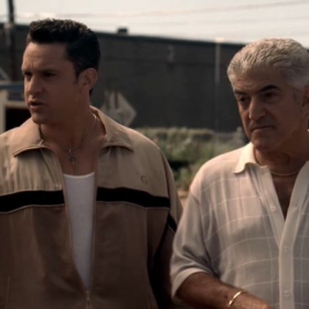 Chris Caldovino with Frank Vincent on set of The Sopranos