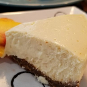 Instant pot Cheese cake with fresh peaches.