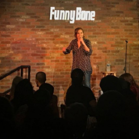 Performing live at the Funny Bone Comedy Club in VA Beach (2017)