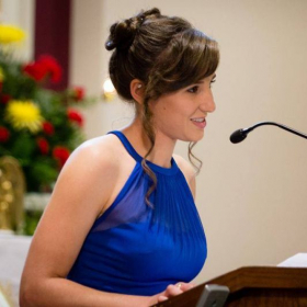Reciting the first reading at my sister's wedding (2015)