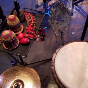 My percussion setup at the Triad Theater, NYC.