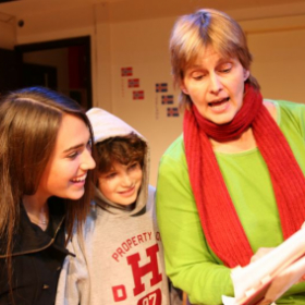 teaching young students their lines for As You Like It
