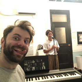 Late night shenanigans while helping my student Stephanie record an album!