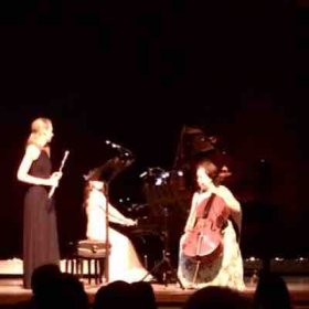 Playing piano trio in a concert
