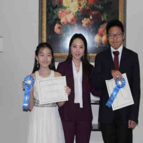 Students won the first place in piano ensemble competition
