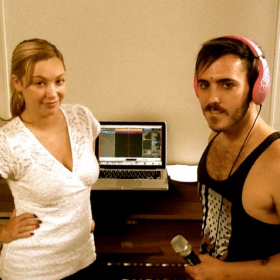 Paloma coaching Brent on how to record an at-home demo