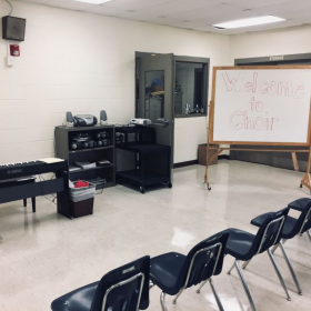 Picture of my choir room before my first day of school on my first year of teaching. I only had one day to decorate!