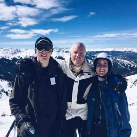 A picture with my dad and sister during our ski trip in the Rocky Mountains.