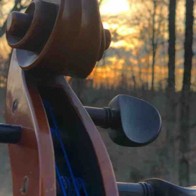 Gorgeous sunset backing the scroll of my cello.