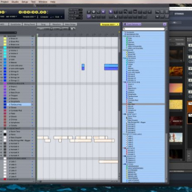 Working on a composition using music software