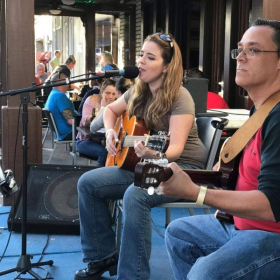 Heather, and her husband, Greg, performing in DeLand, Florida