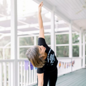 If you do not have neck issues, you can look up in this Triangle pose
