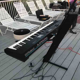 Picture taken during the equipment set up for a music performance.