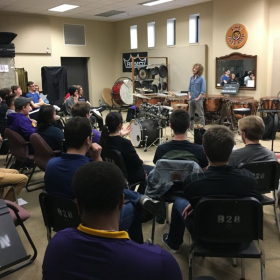 Teaching a masterclass to the percussion studio at LSU