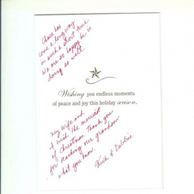 A nice note that the grandparents of one of my students sent me at Christmas time.