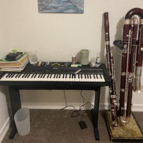 My studio set up for reed making and piano practice!