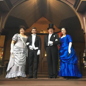 Late-Victorian dance performance at the Wren's Nest mansion.