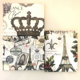 Three canvases wrapped with recycled calendar pages!