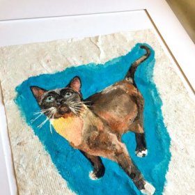 My friend's cat, painted with gouache on homemade paper and mounted on cotton rag board.