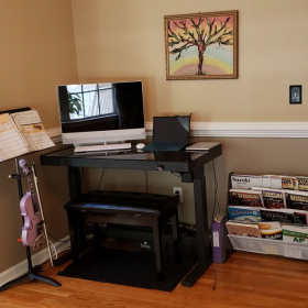 All new; height adjustable desk, huge touch screen computer, bookshelf, sturdy music stand, violin holder, piano bench.