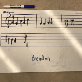 Izzy's 3rd grade student created his own composition for recorder.