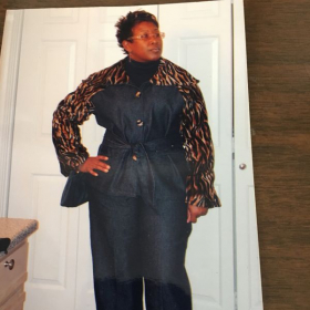 blue jean and velveteen pants suit. i I designed this outfit for a sir Charles Jones concert!!