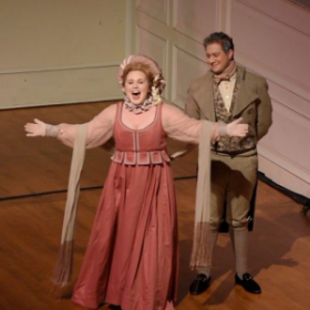 Melanie as the role of Mrs. Bennet in Peabody Opera's production of Pride and Prejudice by Kirke Mechem