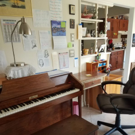 This is my Music Studio in my house where you will be learning how to play the Piano!!
